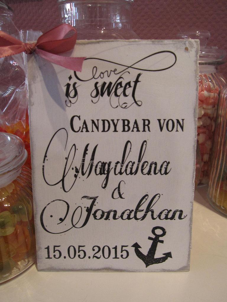 Hochzeit Candybar Schild Shabby Chic Vintage Schild